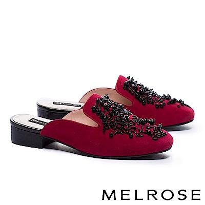 拖鞋 MELROSE 華麗格調羊麂皮穆勒低跟拖鞋-紅