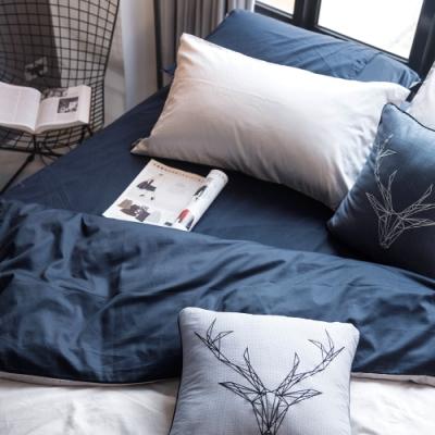 OLIVIA  GRAY X NAVY 標準單人床包美式枕套兩件組 200織精梳純棉 台灣製