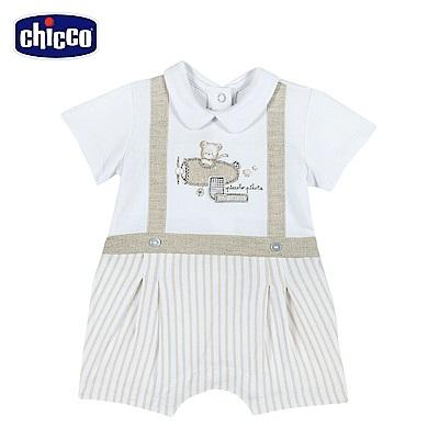 chicco-可可熊-假兩件式後開短袖兔裝