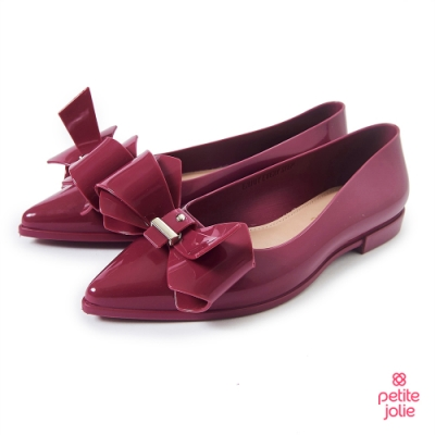 Petite Jolie--立體蝴蝶結尖頭娃娃鞋-酒紅
