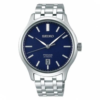 SEIKO 精工 PRESAGE經典日期窗機械錶-藍(SRPD41J1)