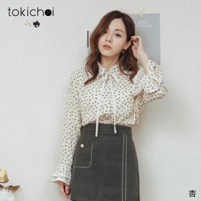 東京著衣 心花朵朵蝴蝶結綁帶排釦喇叭袖雪紡襯衫(共二色)