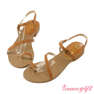 Grace gift-真皮斜帶套趾涼鞋 棕