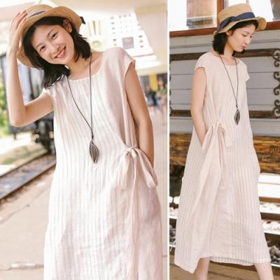 洋裝-腰間繫帶小飛袖條紋棉麻長裙-設計所在