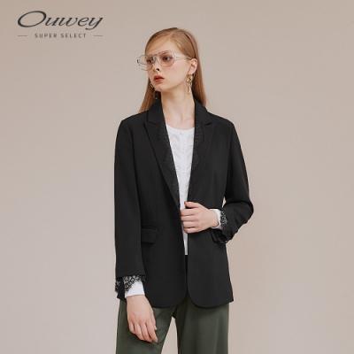 OUWEY歐薇 剪接蕾絲西裝外套(黑)