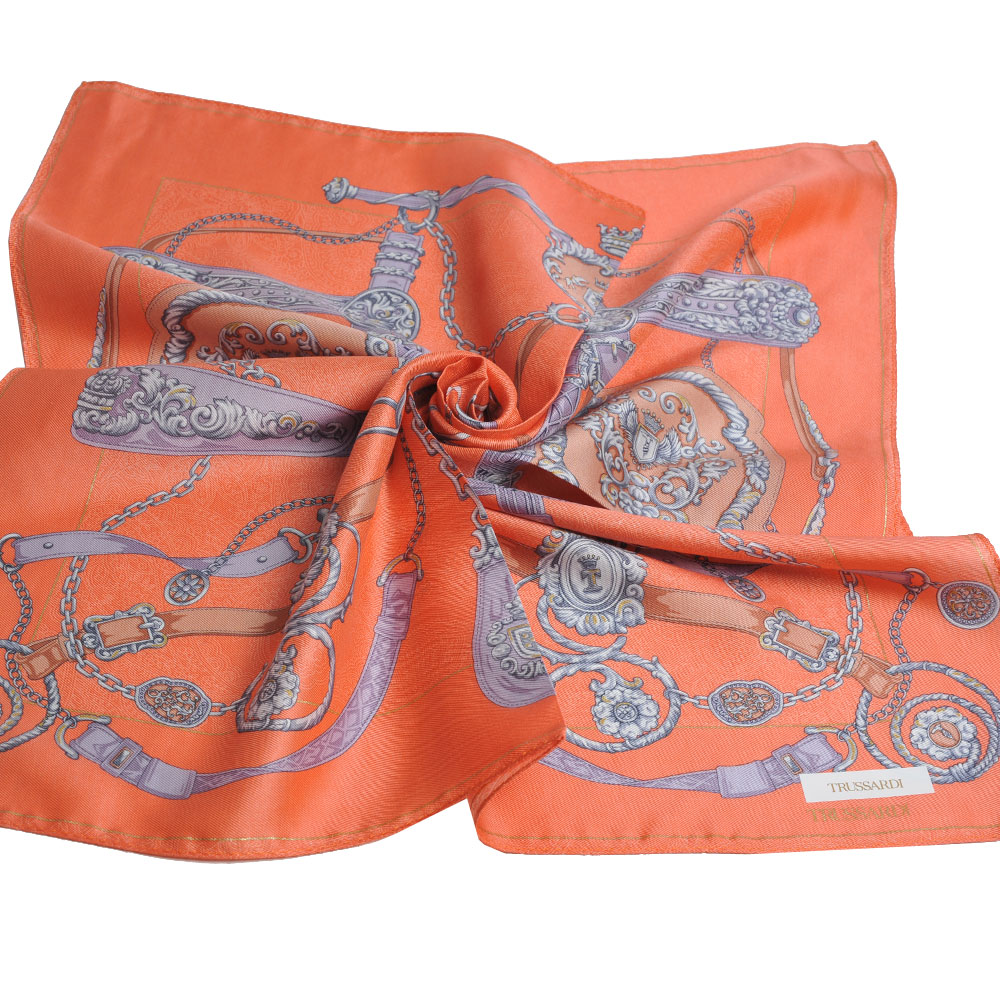 TRUSSARDI 經典品牌皮穿鍊圖騰LOGO絲質大帕領巾(橘色系) @ Y!購物