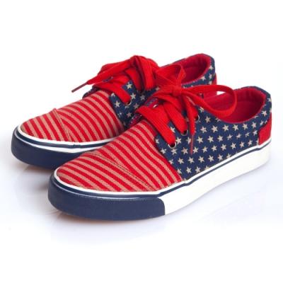JMS-國旗風線條拼接小星星休閒帆布鞋-紅色