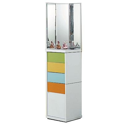 文創集 艾尼莎1.3尺鏡面化妝台/立鏡櫃(三色)-40x40x180cm-免組