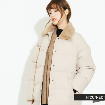 H:CONNECT 韓國品牌 女裝 - 造型領口長版保暖外套 - 卡其