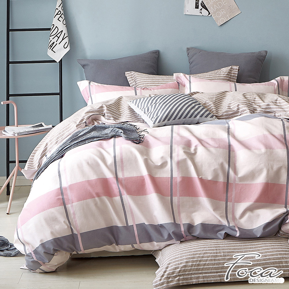 FOCA粉漾都市-單人-100%精梳純棉三件式兩用被床包組