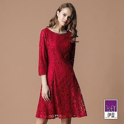 ILEY伊蕾 縷空蕾絲鑽飾圓領洋裝(紅)