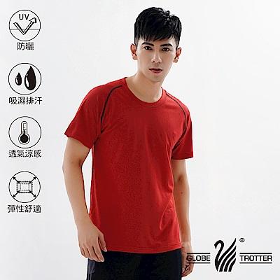 【遊遍天下】台灣製中性款輕量吸濕排汗機能圓領衫S0709桔紅