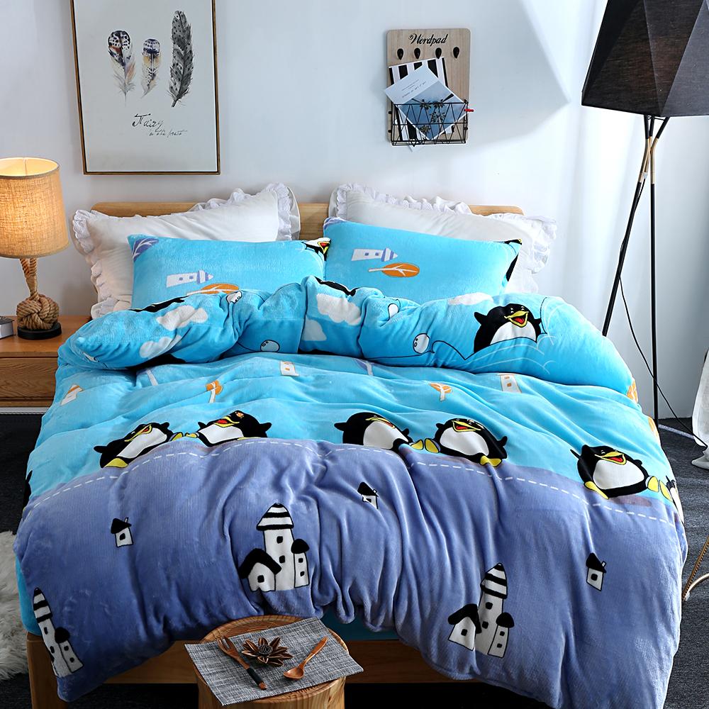 生活提案 法蘭絨加大四件式 被套床包組 企鵝