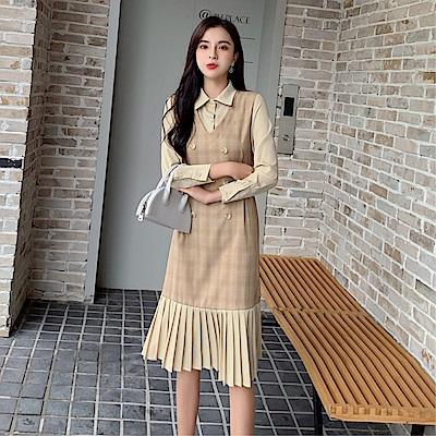 DABI 韓國風收腰系帶顯瘦拼接雪紡壓褶長袖洋裝