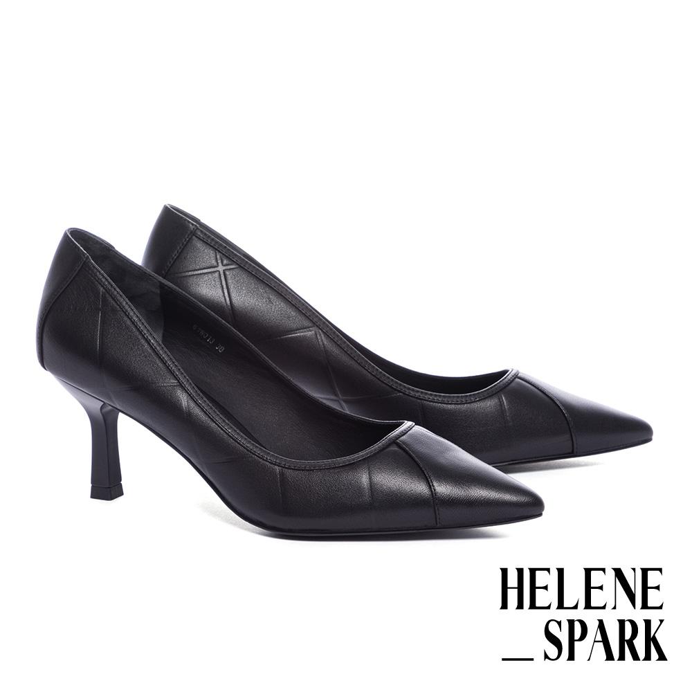 高跟鞋 HELENE SPARK 簡約時尚方格壓紋牛皮尖頭高跟鞋-黑