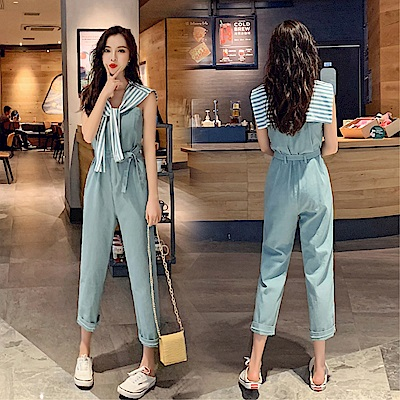 DABI 韓系時尚甜美披肩連身褲套裝無袖褲裝