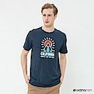 Hang Ten - 男裝 - 有機棉-加州風圖印圓領T恤 - 藍