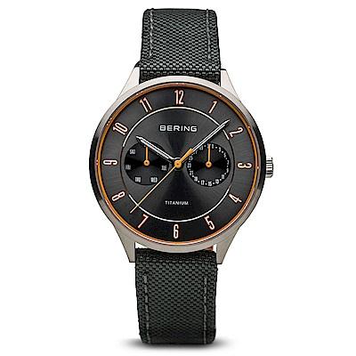 BERING丹麥精品手錶 雙眼日期顯示尼龍錶帶 灰39mm