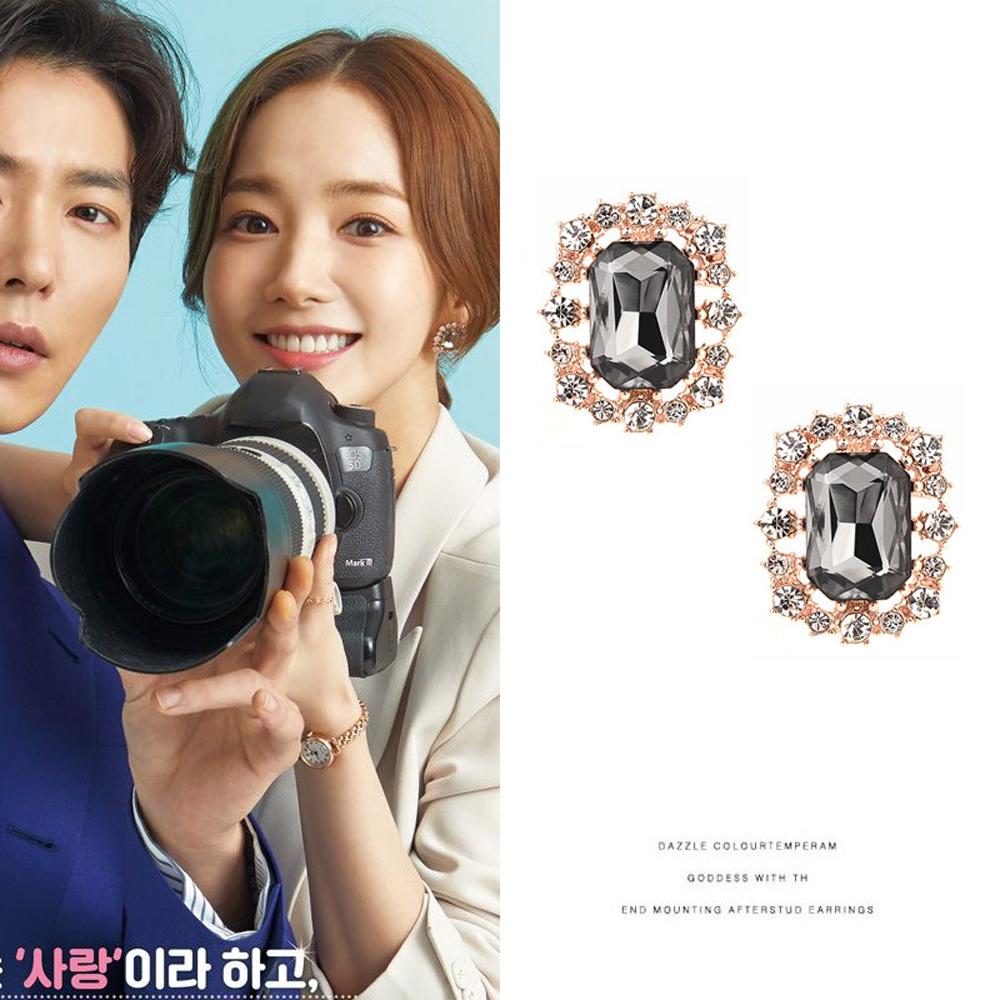 梨花HaNA 韓國她的私生活珠寶方鑽灰水晶花嫁耳環