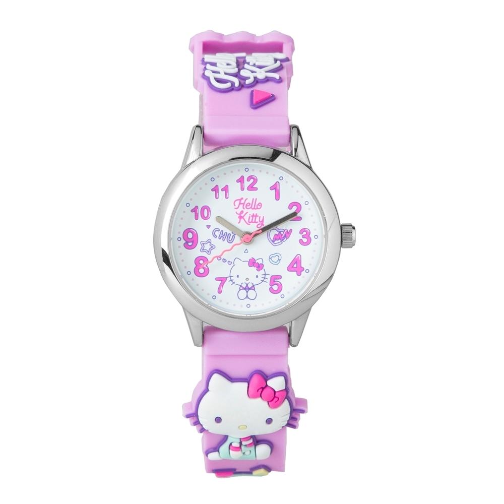 HELLO KITTY凱蒂貓 繽紛霓虹兒童手錶-紫/30mm