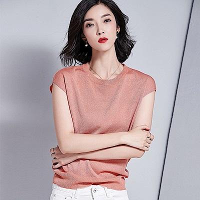綻放 純色金銀線短袖針織衫-共4色(M-XL可選)