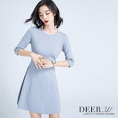 DEER.W 圓領珍珠袖針織洋裝(灰藍)