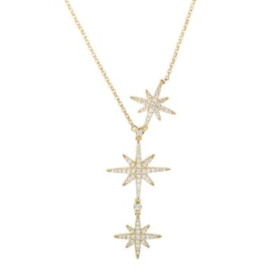 apm MONACO法國精品珠寶 閃耀金色三繁星鑲鋯可調整長項鍊