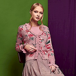 JESSICA - 荷葉滾邊造型玫瑰針織外套