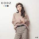 東京著衣-KODZ 可愛慵懶素面側開衩寬版多色圓領毛衣(共三色)