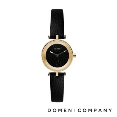 DOMENI COMPANY 星空錶盤系列 義大利小牛皮錶帶 金錶框 -黑/22mm