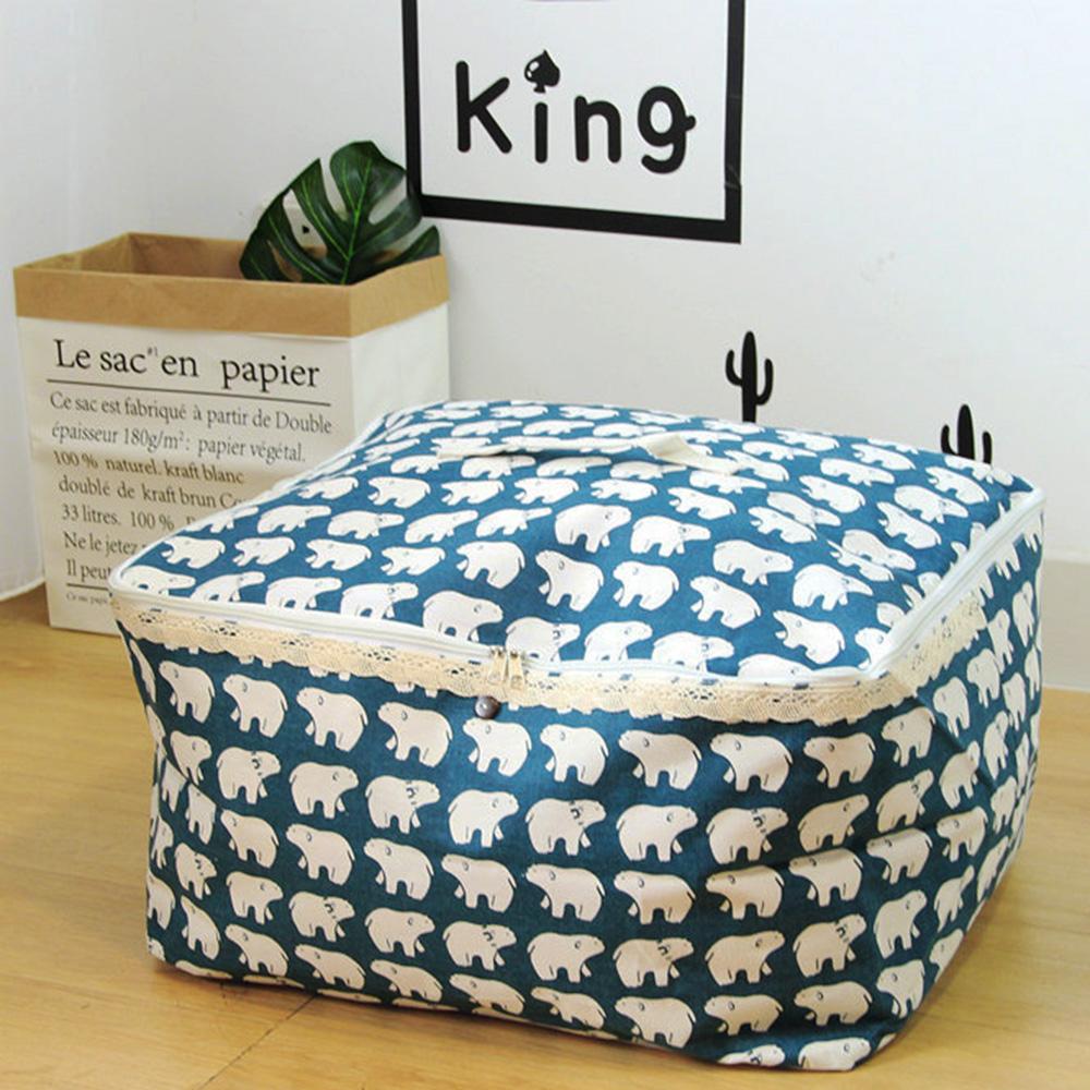 【收納職人】衣物棉被大容量防水防塵袋收納袋收納箱50L(藍底小白熊)