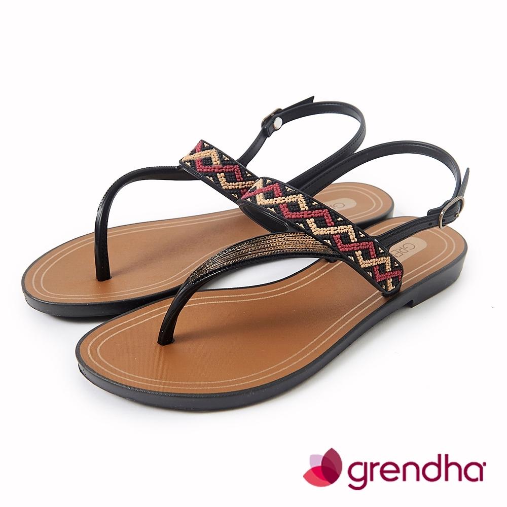 Grendha 民俗風串珠T字帶涼鞋-黑色/金
