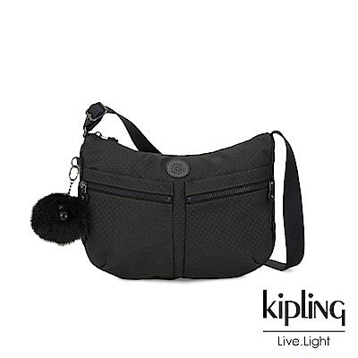 Kipling 低調黑格紋雙拉鍊前袋肩背包-IZELLAH