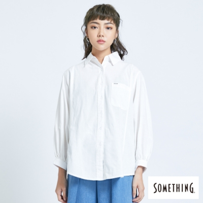 SOMETHING 隨性休閒寬袖襯衫-女-白色