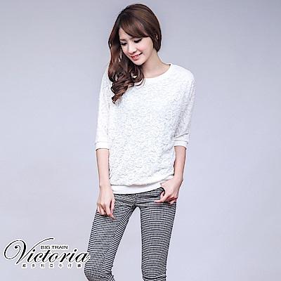 Victoria 低腰彈性黑白格磨毛窄管褲-女-黑