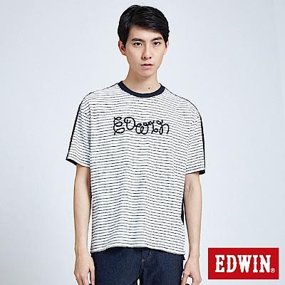 EDWIN 築地系列雙面拼條繡花短袖T恤-男-白色