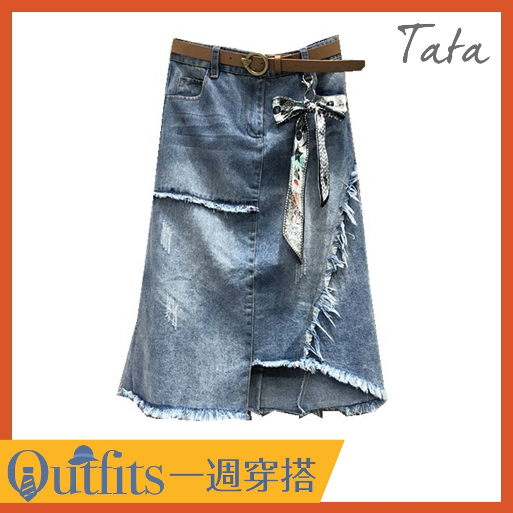 [時時樂限定]不規則抽鬚吊飾牛仔裙 TATA-(S~L)