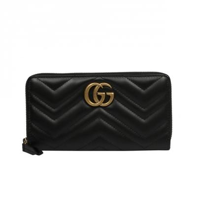 GUCCI GG Marmont 山形線 雙G 復古金扣 皮革 拉鍊 皮夾 長夾 卡夾 黑色 443123