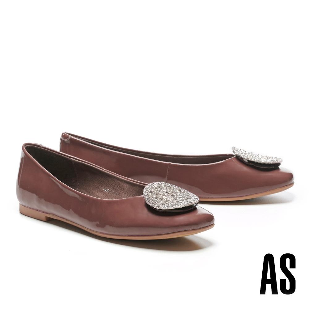 平底鞋 AS 復古時尚晶鑽圓釦全真皮方頭平底鞋-紫