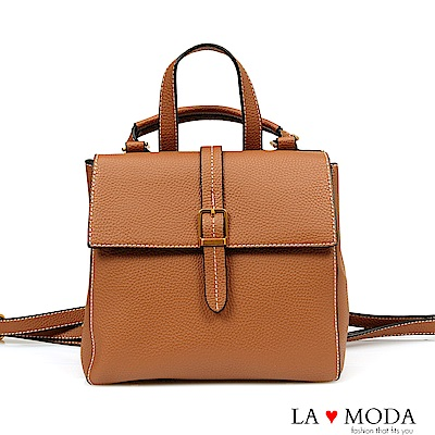 La Moda 旅行通勤必備多種背法肩背斜背後背包(棕)