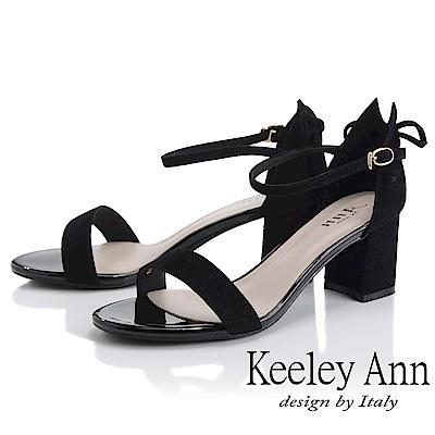 Keeley Ann簡約一字帶 素面麂皮環扣高跟涼鞋(黑色-Ann系列)