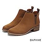 達芙妮DAPHNE 踝靴-原色深U字鬆緊帶木紋粗跟靴-棕
