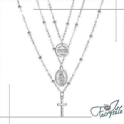 iSFairytale任選 伊飾童話 女神十字架 宮廷圓牌華麗三層項鍊