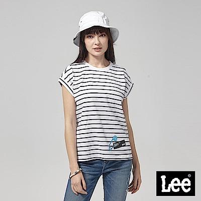 Lee 落肩別針T恤-藍色條紋