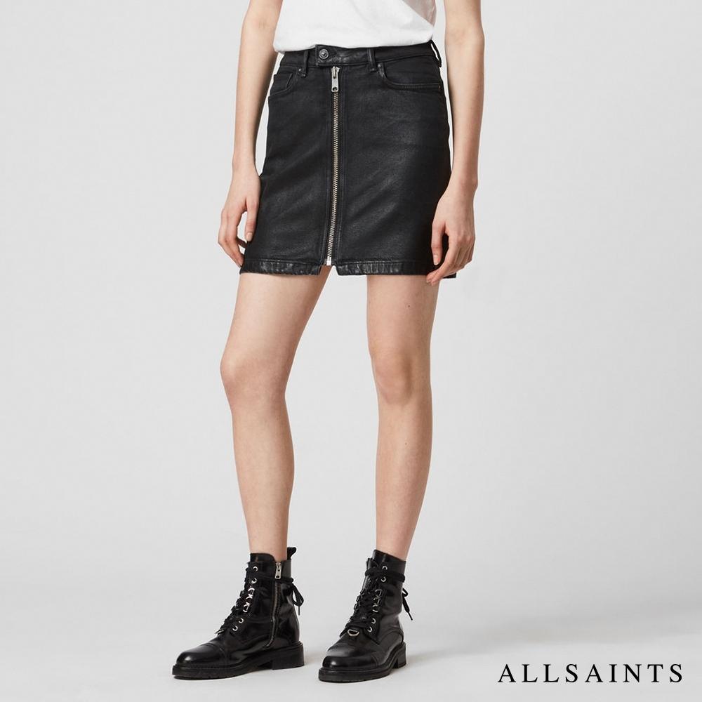 ALLSAINTS SAMMY 拉鍊造型高腰棉質混紡牛仔短裙- 黑