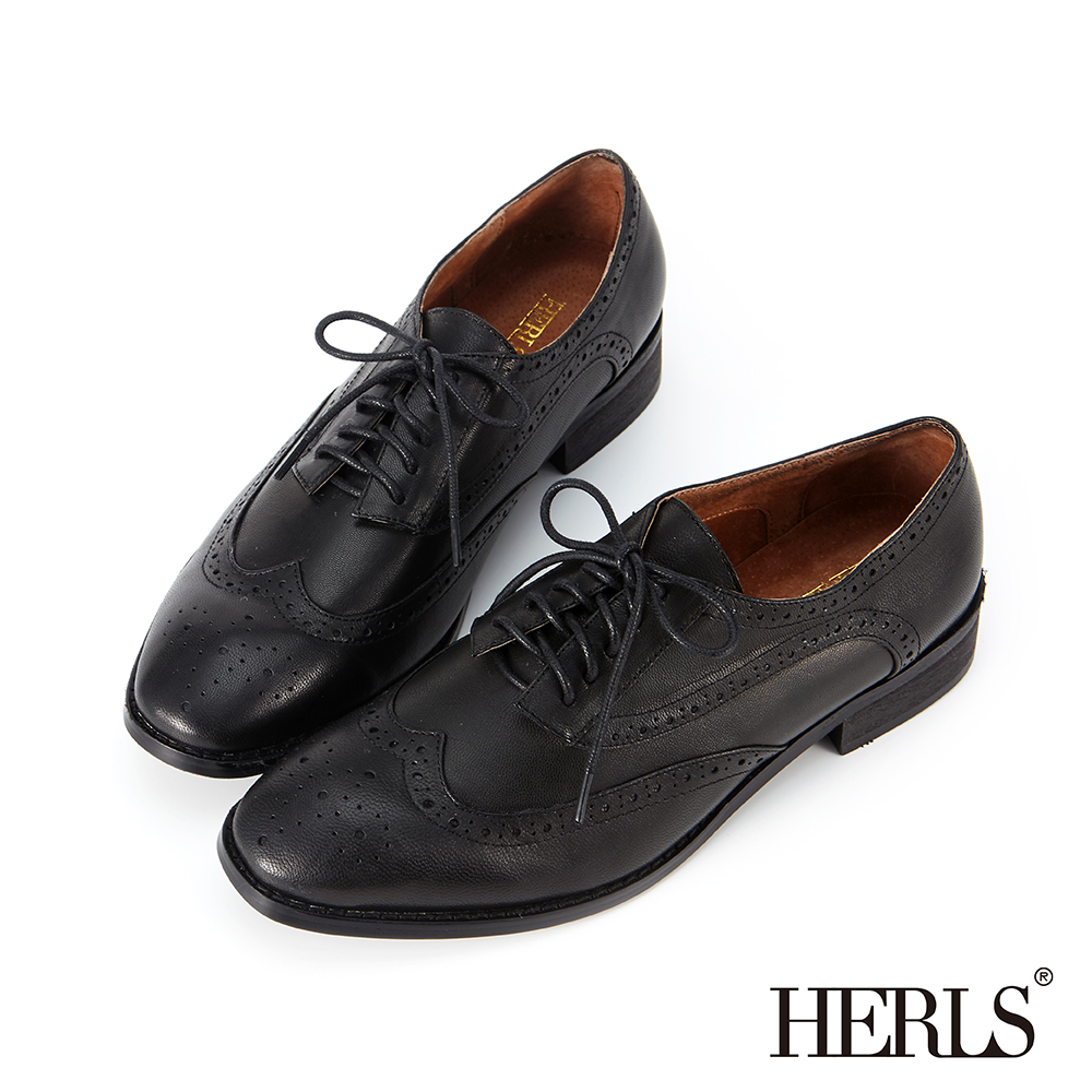 HERLS 全真皮雕花擦色德比牛津鞋-黑色 @ Y!購物