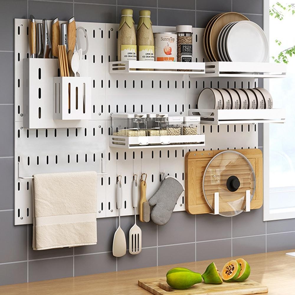 工業風無痕免釘多功能收納洞洞壁掛置物架-廚房套裝組