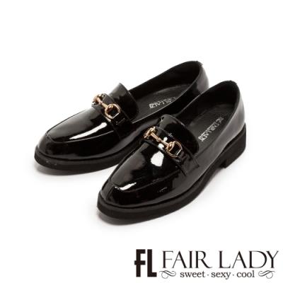 Fair Lady金屬馬銜釦漆皮厚底樂福鞋 黑