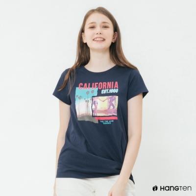 Hang Ten -女裝 - 有機棉-加州風格扭結T桖 - 藍