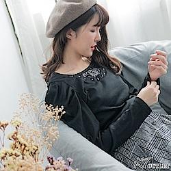 KT 公主袖柔軟上衣-黑色